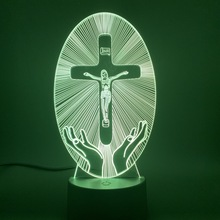 Crucifixion of Jesus Cross Led Night Light for Office Church Home Room Decoration Best Gift To Nazarene Bedside Table Lamp 3d