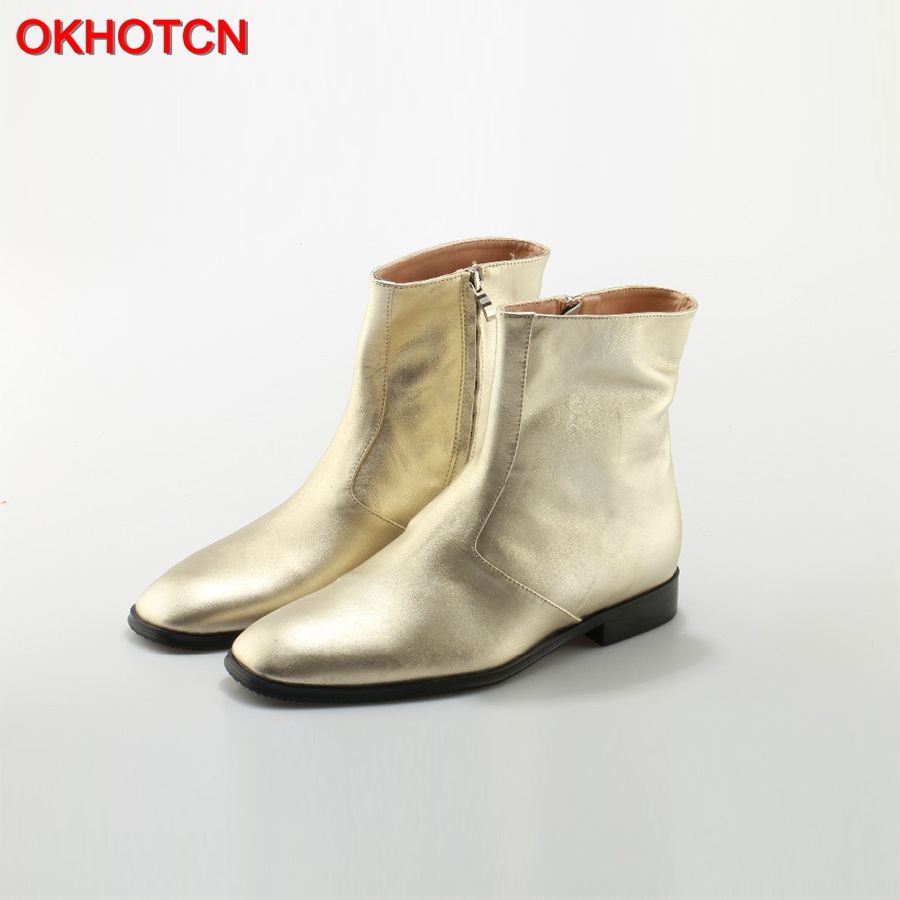OKHOTCN Gold Silver Metallic Leather Wyatt Men Ankle Boots Fashion Poined Toe Chelsea Boots Side Zipper Men Motorcycle Boots 46