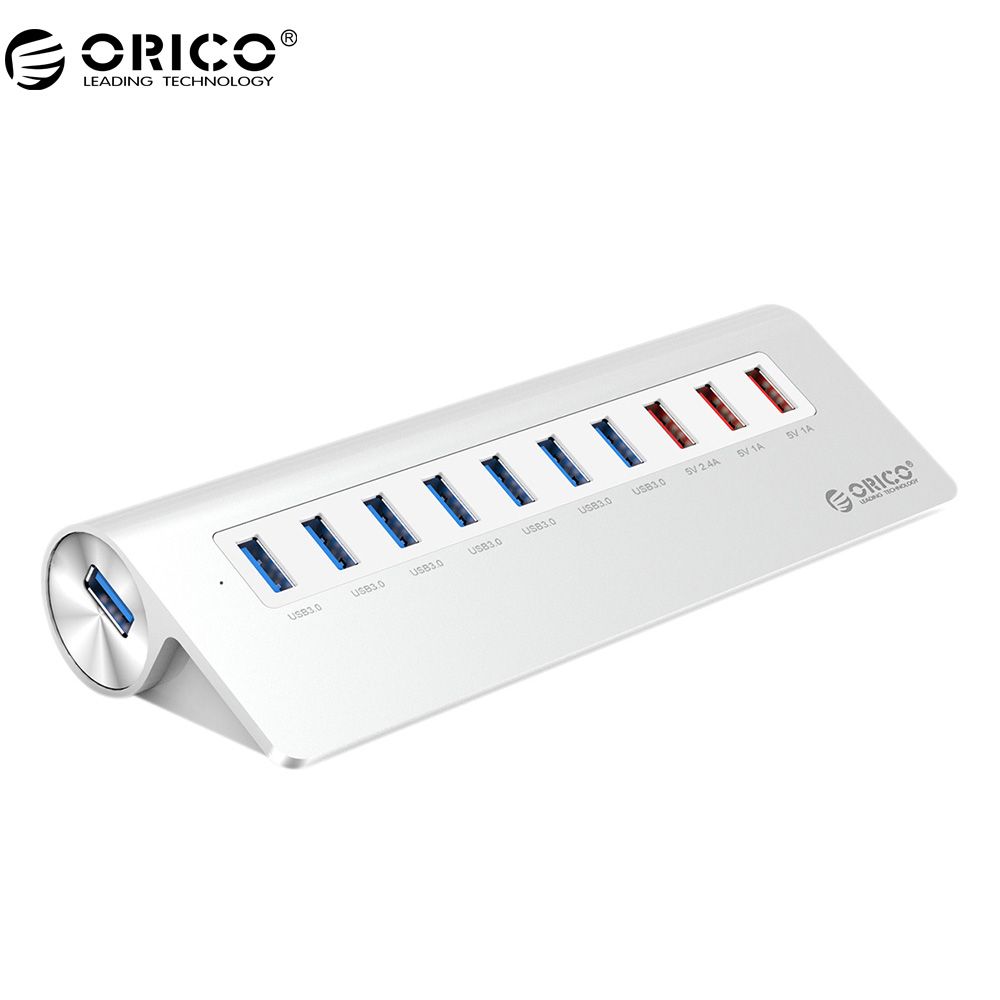 ORICO M3H73P-U3-V1 High-Speed Aluminum With Power Adapter 10 Port USB3.0 HUB For Phone/ Pad - Silver orico h3ts u3 3 port multifunctional usb3 0 hub with sd