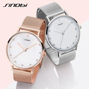 Image 3 - SINOBI basit kadın bilek saatler altın kordonlu saat takvim en lüks marka kristal kuvars saat bayanlar kol saati reloj mujer