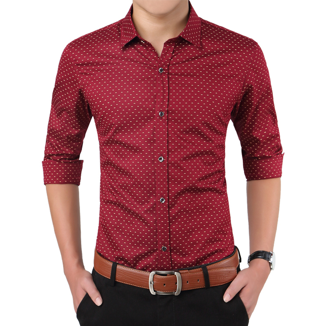 2018 New Autumn Fashion Brand Men Clothes Slim Fit Men Long Sleeve Shirt Men Polka Dot Casual Men Shirt Social Plus Size M-5XL