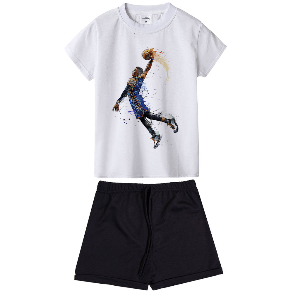 Russell Westbrook Kids Clothing Set Boy Basketball Tracksuit Summer Sport Wear Clothes Children Basket Ball Outfit Teens Toddler