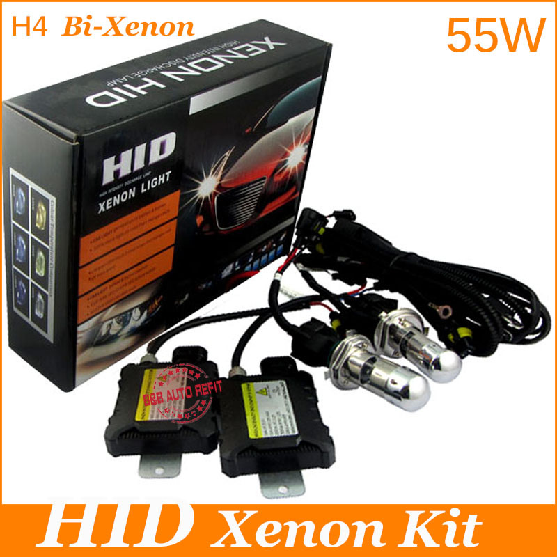 55W 4300k 6000k 8000k bi xenon H4 Hid conversion Kit H4high low beam H4H L headlamp