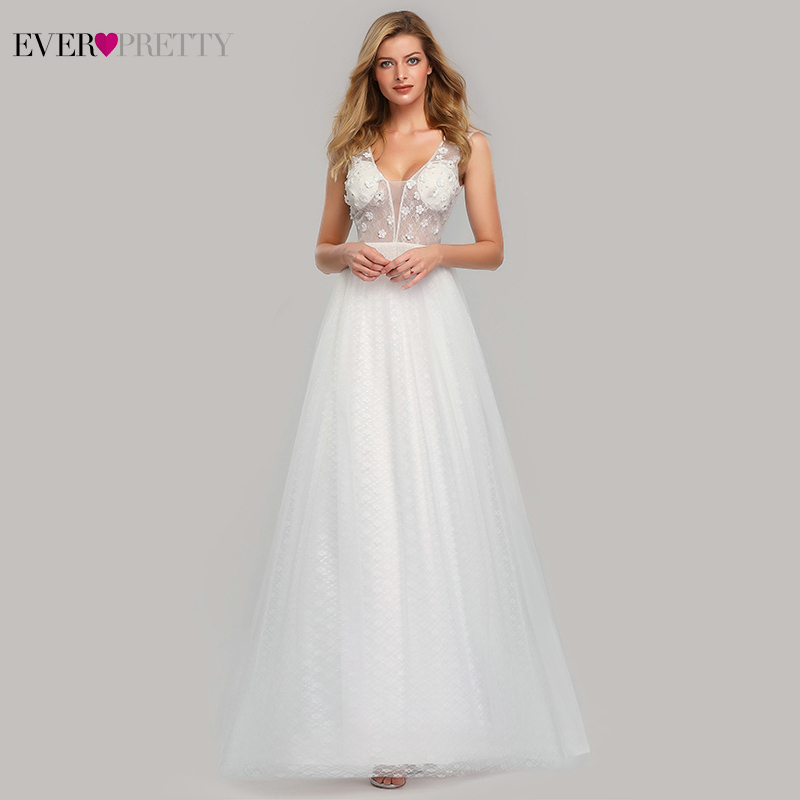 Bride Dresses Ever Pretty Elegant Appliques Illusion Lace V-Neck Formal A-Line No Padded