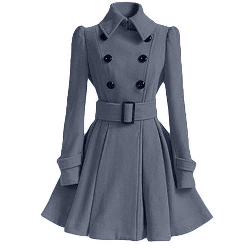 Осенне-зимнее женское пальто, модный тонкий винтажный двубортный пиджак, женский элегантный длинный теплый красный блейзер для женщин - Цвет: Серый