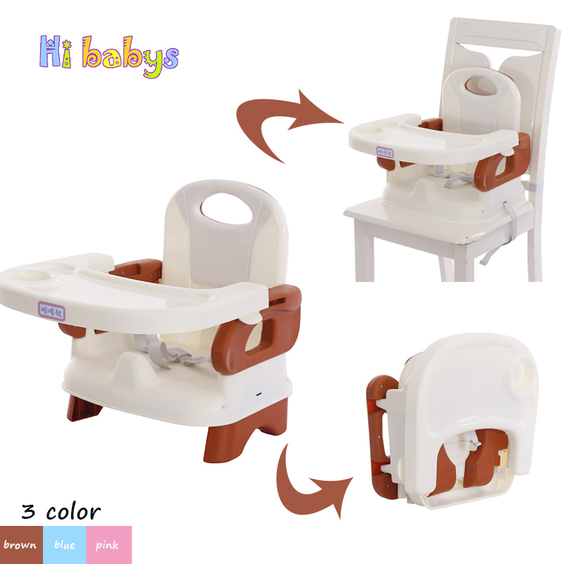Baby Chair Seat Portable Kids Booster High Chair with Table Foldable Children Feeding Chair Adjustable Dinning Table Harness