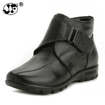 Nuevas botas de tobillo para mujer, botas de nieve planas de cuero genuino, zapatos informales, botas cálidas gruesas para mujer hjm89