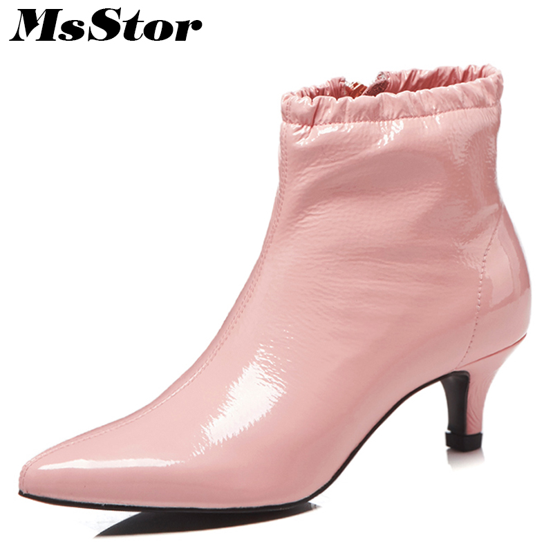 MsStor Pointed Toe Med Heel Women Boots Fashion Metal Zipper Ankle Boots Women Shoes Elegant Sexy Thin Heels Boots Shoes Woman electric ukulele acoustic solid top only 4strings guitar ox bone nut mahogany body red tortoise shell celluloid binding ukelele