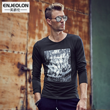 Enjeolon brand 2017 Spring Mens Fashion long T Shirts , cotton Clothing For Man's black T-Shirts Slim Tops Tee RST1905-1