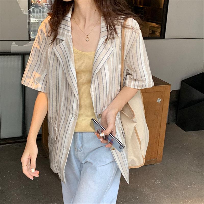 HziriP Fashion Brief Striped Notched Blazer 2019 Summer OL Women Single Breasted Simple Short Sleeves Loose Office Ladies Blazer