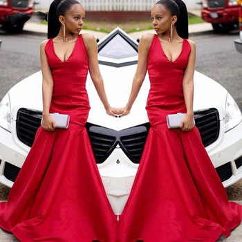 Cheap Red Mermaid Prom Dresses Long Satin Party Gowns Sexy V Neck Sweep Train Black Girls Formal Wear Women vestidos largos