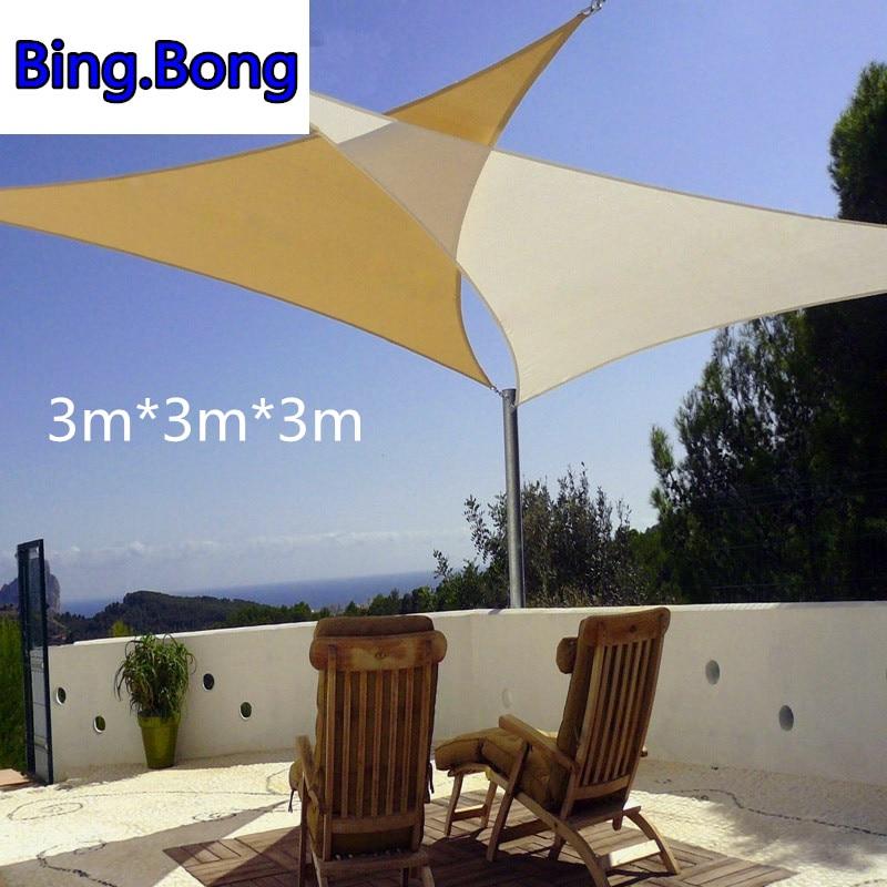 USA Freeshipping sun shade sail 3M*3M*3M PU waterproof cloth lona para toldo canopy outdoor pergola gazebo garden awning