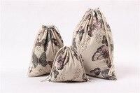 10 CÁI 14*16/19*24/25*32 cm Dây Kéo Pouch Giáng Sinh Wedding Gift Bag Vải trang sức Lanh Lanh Vải Bao Bì Chất Lượng Cao