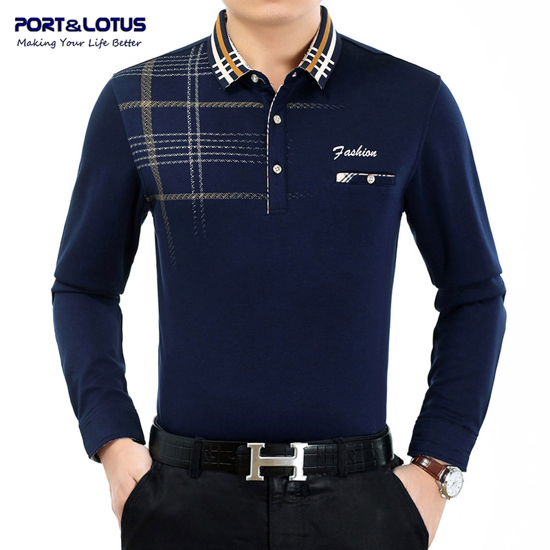 Port lotus polo shirt men plaid brand clothing thick polos for Cheap polo collar shirts