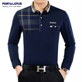 Port&Lotus Polo Shirt Men Plaid Brand Clothing Thick Polos Brand Long Sleeve Turn Down Collar Cheap Polo Shirt JSL 008 2203