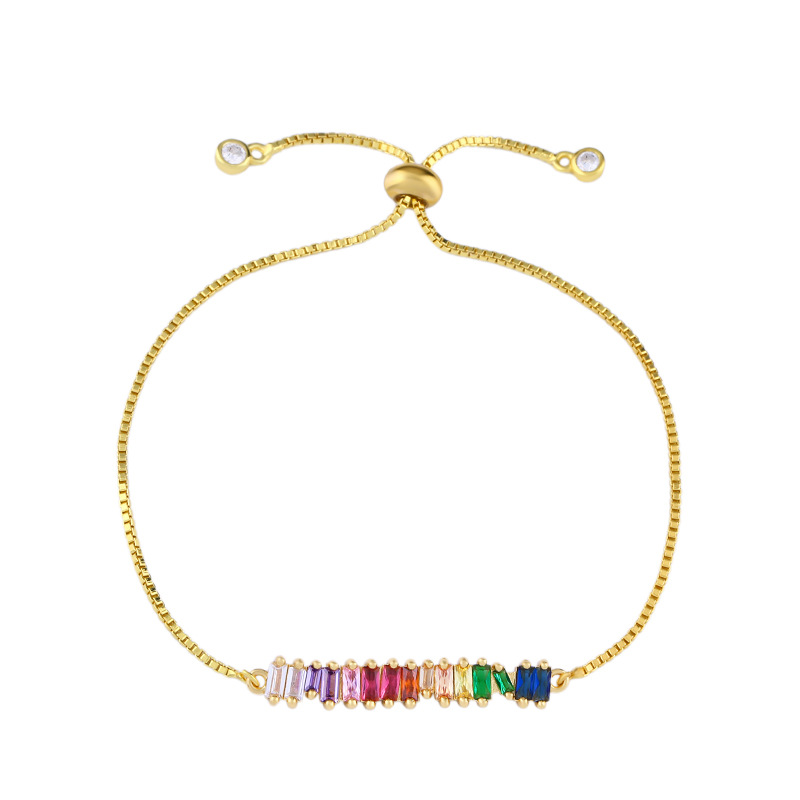 New delicate rainbow chain Gold charm bracelet Adjustable tiny sparking shiny CZ stone Bangles for women Jewelry Party gift in Chain Link Bracelets from Jewelry Accessories