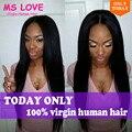 MS Любовь Перуанский Девы Волос С Закрытием 3 Связки Перуанский прямо Девственные Волосы с Закрытием Дешевые 8А Человеческих Волос С закрытие