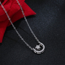 Фотография S925 Sterling Silver Pendant  Necklace Lady Sweet Romantic Simple Star Moon Necklace Japanese And Korean Style Student Gift
