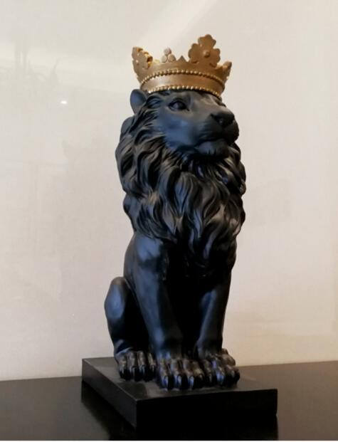 Black crown lion statue handicraft decorations christmas decorations for home sculpture escultura home decoration accessories 4