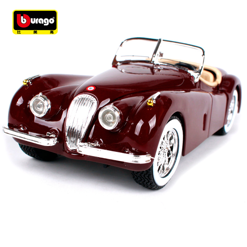 Bburago 1:24 Jaguar xk120 roadster red wine car diecast 185*66*53mm classic motorcar collecting bubble car models for men 22018 стоимость