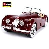 Bburago 1:24 Jaguar xk120 roadster red wine car diecast 185*66*53mm classic motorcar collecting bubble car models for men 22018