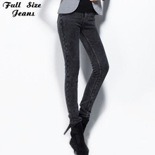 Winter Warm Plus Size Extra Long Solid Black Pencil Jeans Femme Skinny Pants Over Length Leggings 2XL XS 4XL Large Size Pants