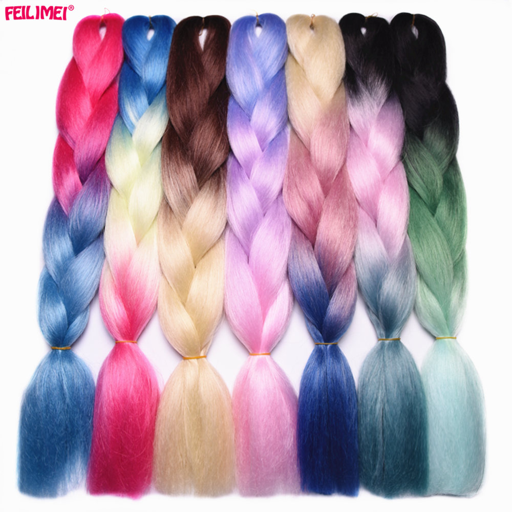 "Feilimei Three/Two Tone Synthetic Ombre Jumbo Braiding Hair Extensions 24""(60cm) 100g/pc Heat Resistant Colored Crochet Braids(China)"