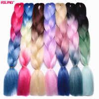 "Feilimei Drei/Zwei Ton Synthetische Ombre Jumbo Flechten Haar Extensions 24 ""(60 cm) 100g/pc Wärme Beständig Farbige Crochet Zöpfe"