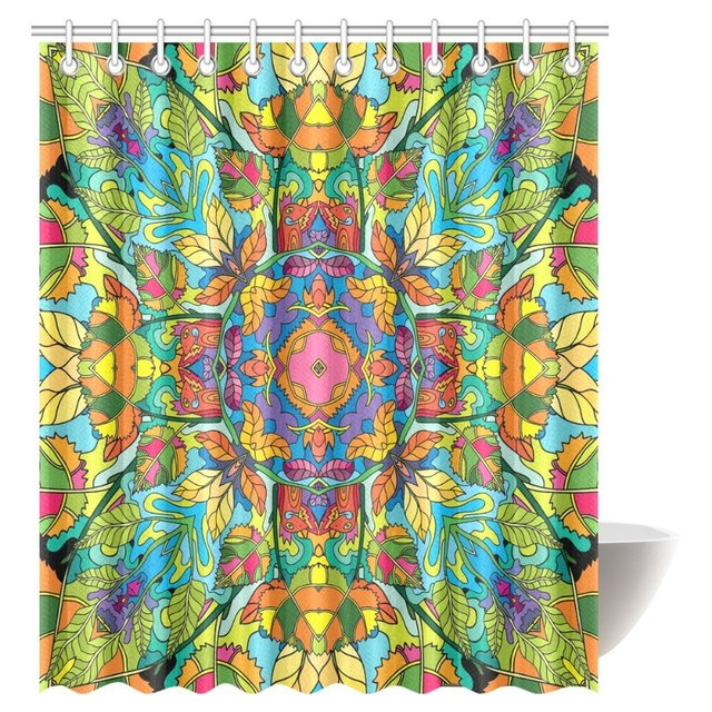 Aplysia Psychedelic Jungle Forest Floral Colorful Fabric Bathroom Shower Curtain With Hooks 72 X 84 Inches