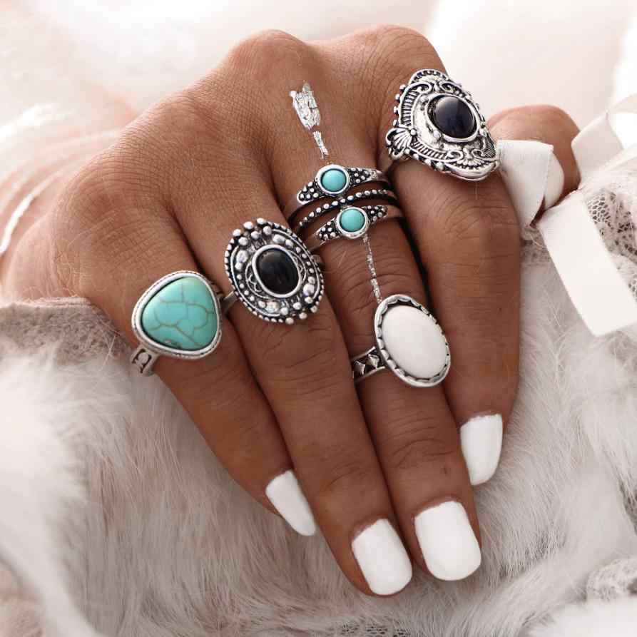 5pcs/Set Women Bohemian Vintage Silver Stack Rings Punk Rock Above Knuckle Blue Rings Set for Women Mid Finger Ring Thin Ring