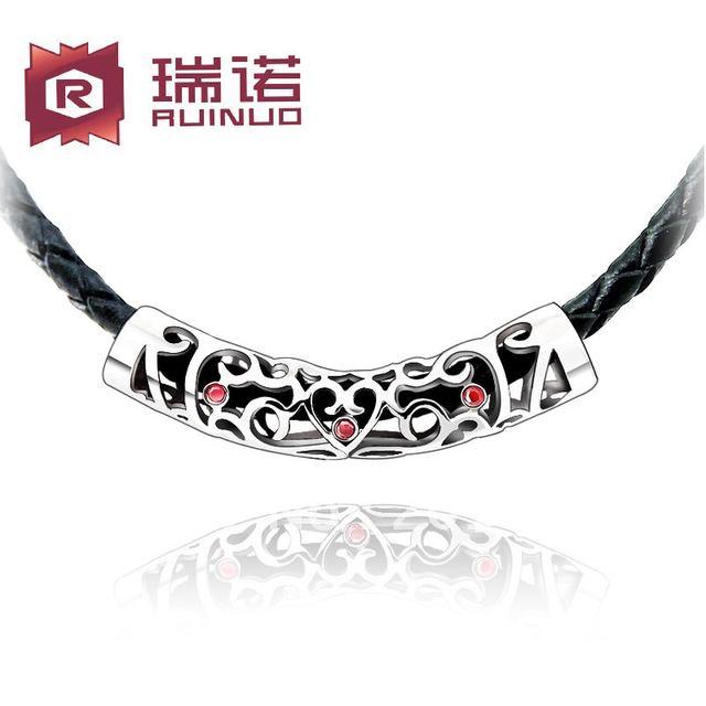 Envío gratis cuero genuino del hombre collar antiguo tallado recorte cadena de la cuerda para hombre