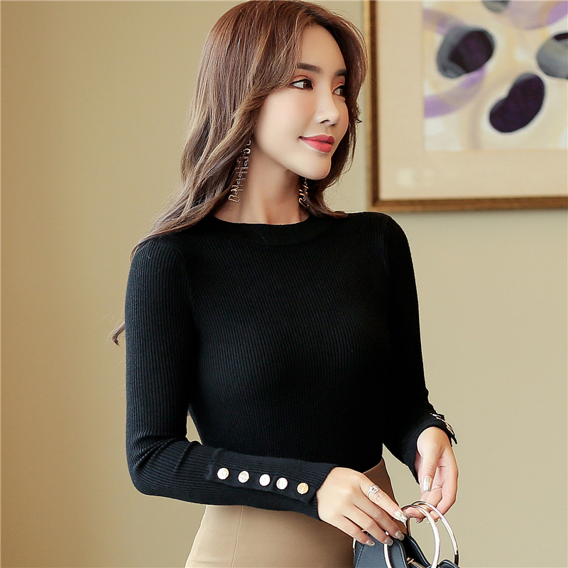 f415c385512b2 Fashion 2019 New Spring Autumn Women Sweater Knitted Long Sleeve O-Neck  Sexy Slim Office Lady Button Casual Sweaters Tops