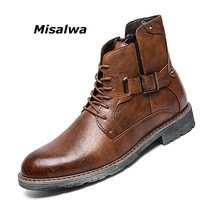 Misalwa Men's Retro Ankle Dress Boot High Top Oxford Safety Shoe Man Russian Style Zipper Anti Skidding Leather Tactical Boots