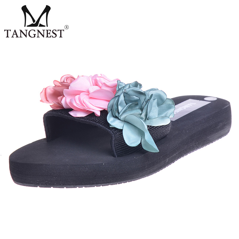 Tangnest Summer NEW Flower Slippers 2017 Fashion Slip-on Flats Casual Platform Slides Shoes Woman Creepers Beach Slippers XWT751 new 2018 shoes woman sandals wedges lovely jelly shoes solid casual slippers summer style fashion slides flats free shipping