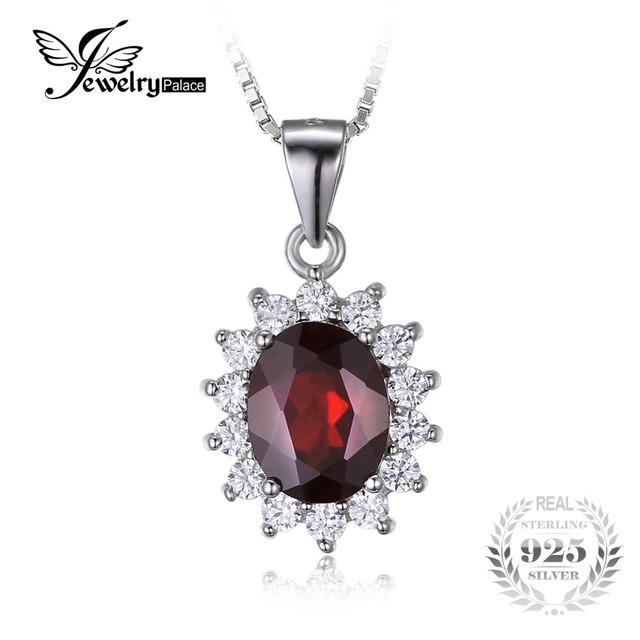 Jewelrypalace oval 3ct princesa kate diana pingente vermelho granada 925 puro jóias de prata esterlina para mulheres sem uma cadeia