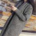 2016 Mujeres Suéteres de Moda Suéteres Cardigans de Punto Suéter de Las Señoras Largas de Punto Sólido Bordeó Outwear Abrigo Color Camel Gris