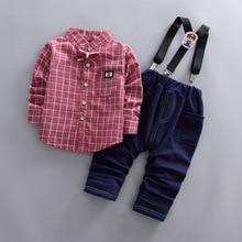 hot deal buy children boys clothing set 2019 spring autumn fashion kids clothing gentleman boys shirt+pants 2pcs toddler boys clothes set