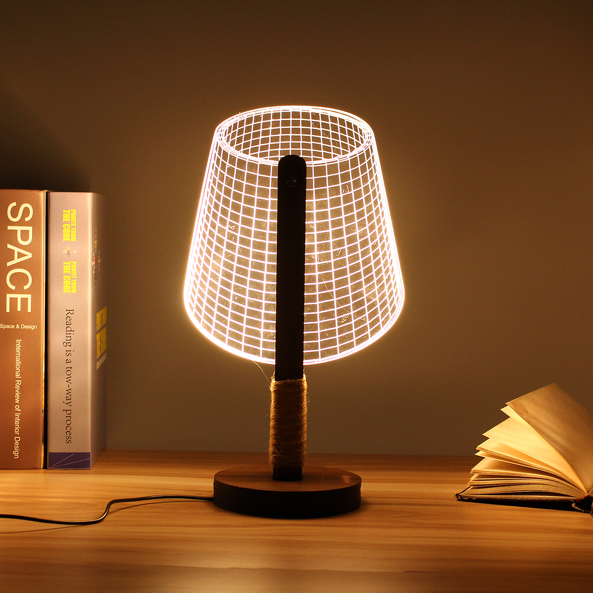 1Pcs Handmade 3D Wooden Stand Lamp Night Light Bedside Table Desk Lamp Plug Connector Home Decor Lighting