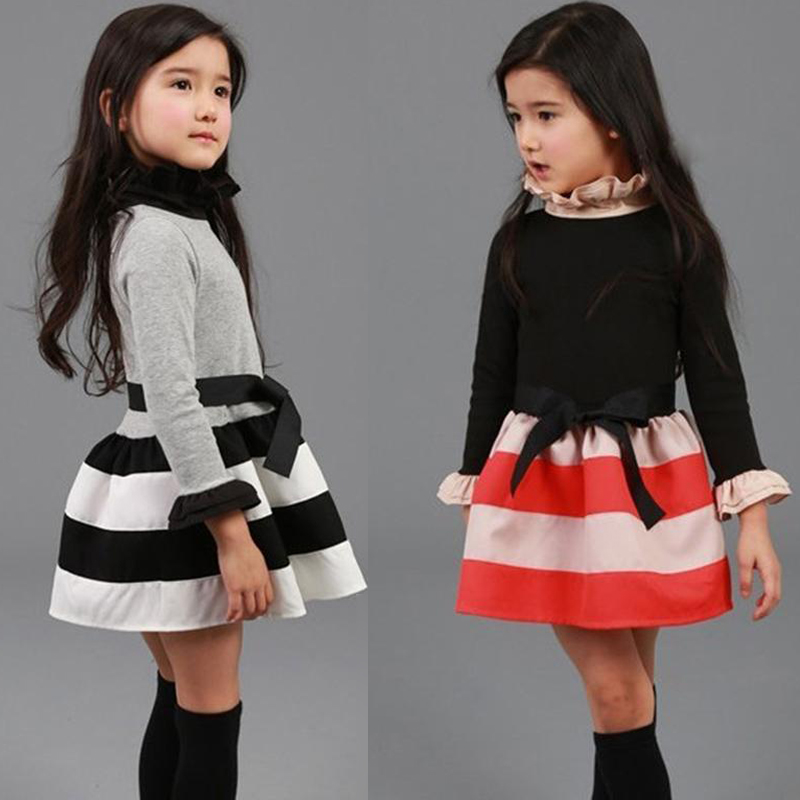 Spring Autumn Girls Dress Casual Turtleneck Long Sleeve Children Princess Dresses 3 4 5 6 7 8 9 Year Kids Striped Party Clothes petite striped long sleeve slit casual maxi dress