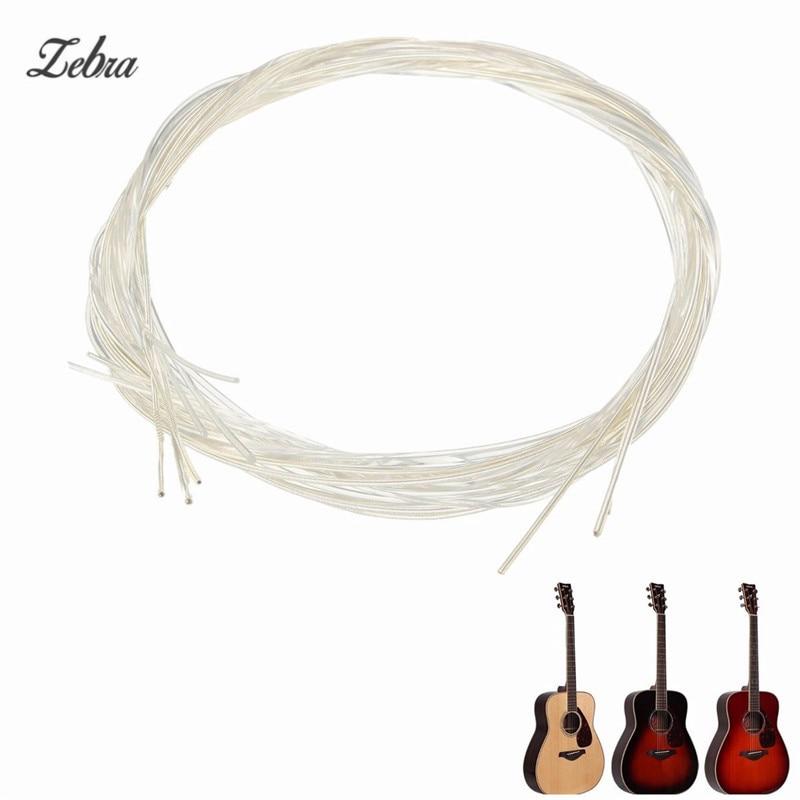 Zebra 6pcs/Set 635mm White Nylon Acoustic Guitar Strings Guitarra String For Guitar Musical Instruments Parts Accessories