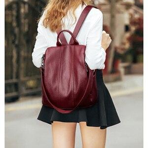 Image 5 - Women Waterproof anti theft Leather Backpacks Bags For Girls Female Shoulder Bag Multifunction Traveling Backpack Mochilas