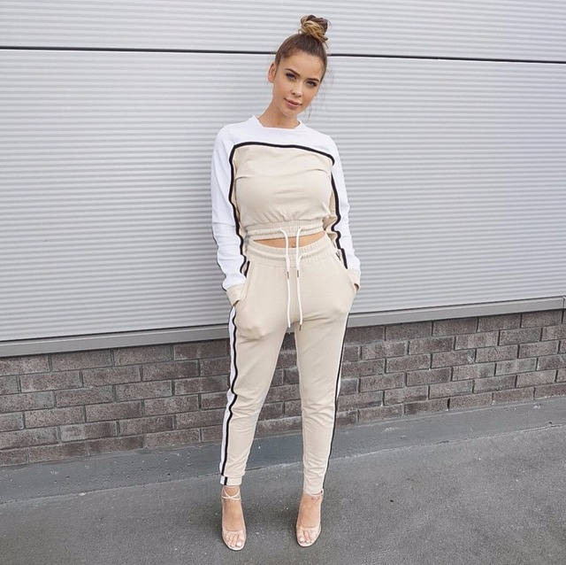 Didiopt 2018 Winter Women Young Sweatshirt And Sport Pants Women Apricot Suits For Specifically Tight Body S2809E