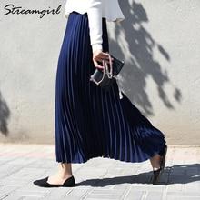Женская плиссированная юбка с высокой талией, синяя шифоновая юбка макси с эластичным поясом, длинная офисная плиссированная юбка, лето 2019