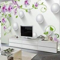 3d紫色のユリの花壁画写真の壁紙ロール用リビングルームホーム壁の装飾ユリ花壁紙壁3 d papel比べ