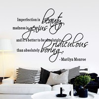 New Fashion Imperfection Is Beauty MARILYN MONROE WALL STICKER DECAL QUOTE MURAL ART Wall Decals Home Decoration