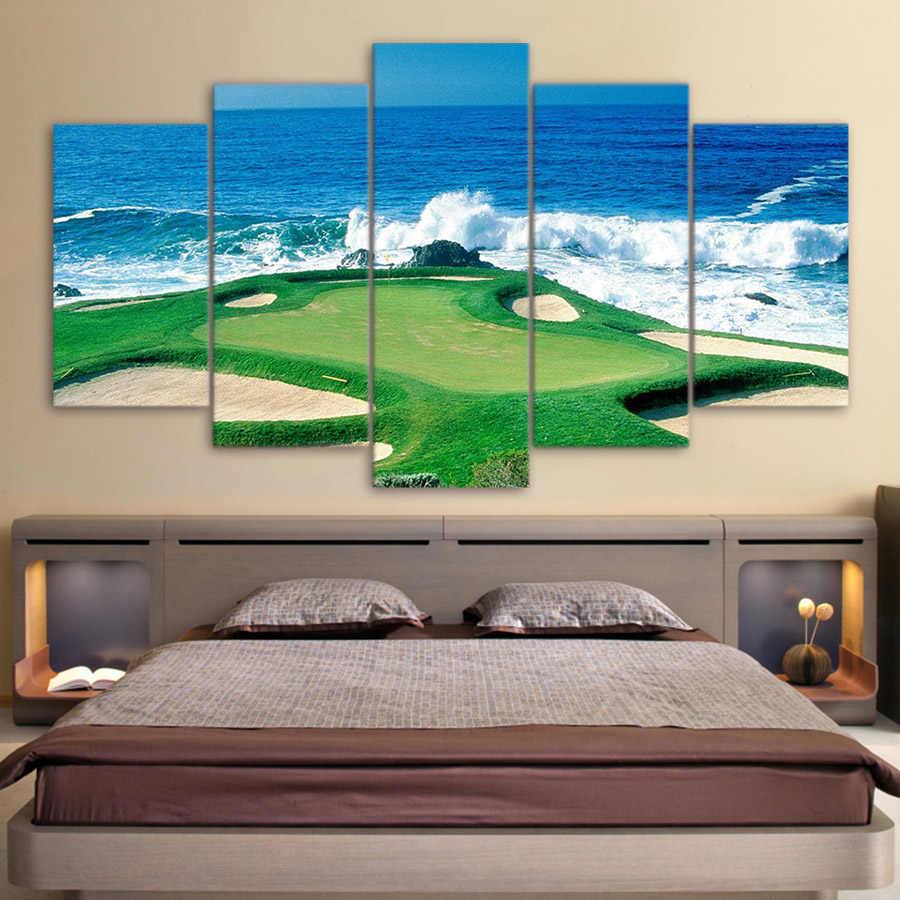 Kanvas Lukisan Dicetak 5 Pieces Golf Pantai Wall Art Kanvas Untuk Living Room Bedroom Modular Rumah Decor