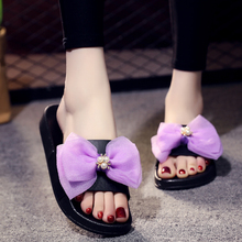 2018 Summer New Butterfly-knot Flats Women Slides Fashion Bow Solid Outside Beach Shoes Sandals Slippers 2017 women slides fashion crystal flower flats slippers women red black white summer outside shoes women appliques slippers lady