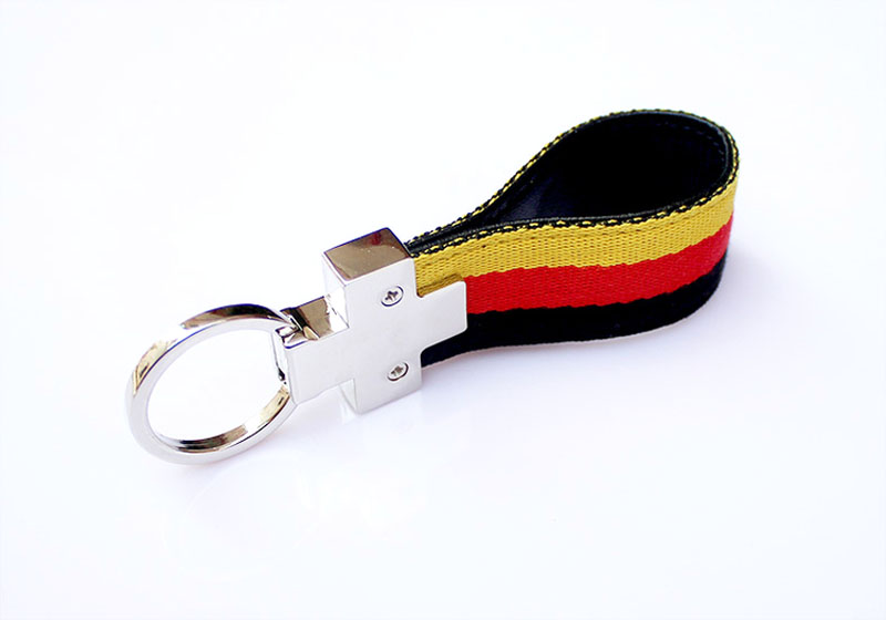Germany flag M\\\ Stripe Nylon Band With Inner Leather Key Fob Chain Metal Keychain Ring For VW BMW Audi Porsche Opel image