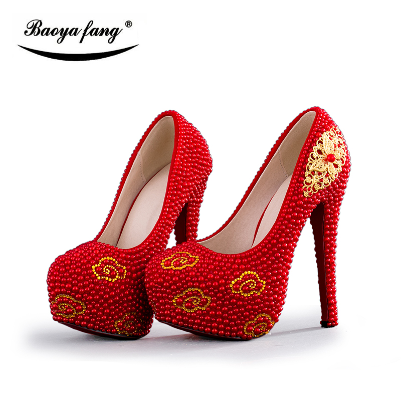 BaoYaFang Red pearl Womens Wedding shoes Gold accessories woman High heels platform shoes party dress shoes Luxury party Pumps baoyafang red crystal womens wedding shoes with matching bags bride high heels platform shoes and purse sets woman high shoes