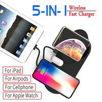 5 In 1 Fast Charge Wireless Charger Pad For Iphone XR XS Max Fasting Charger Dock Station For Apple Watch for Airpods for Ipad